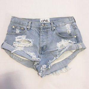 One Teaspoon Bandits Denim Shorts Size 24